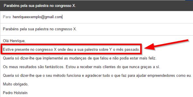 Mostre que conhece a pessoa a quem envia o email