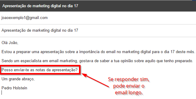 exemplo de emails introdutório