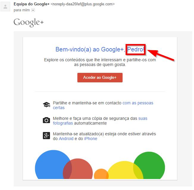 Email personalizado enviado pela Google