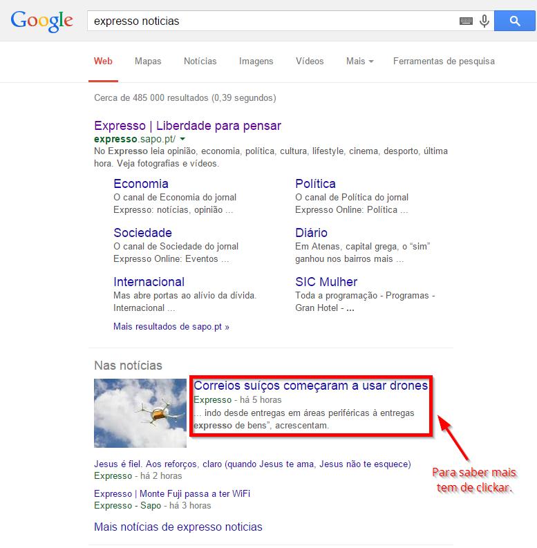 exemplo de uma lacuna de conhecimento na procura do Google