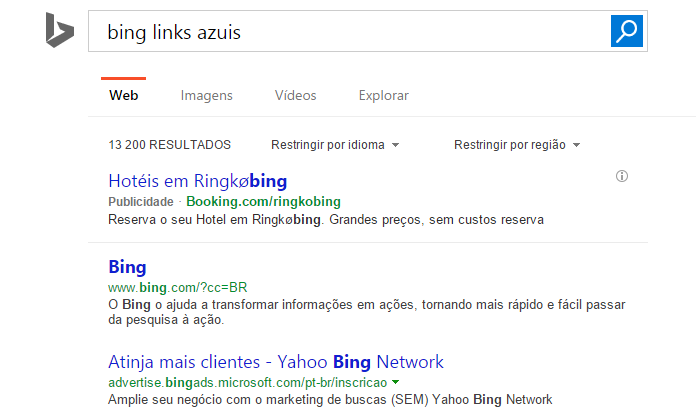 bing links azuis