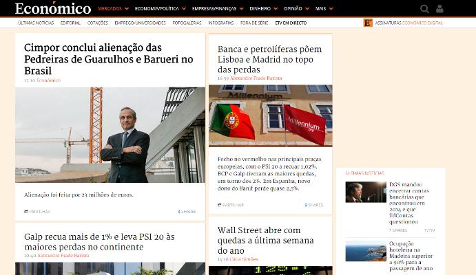 Diário Económico exemplo de um site autoritário