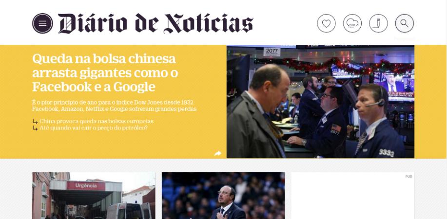 Diário de Notícias homepage