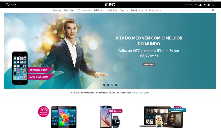 homepage da MEO