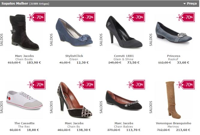 exemplo de site de sapatos