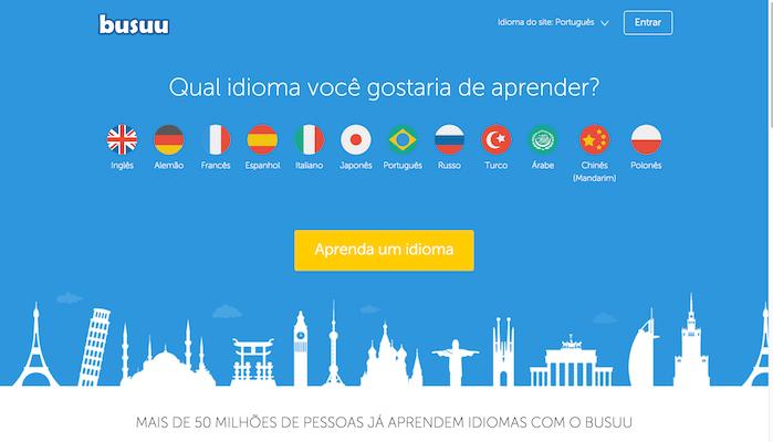 homepage da Busuu
