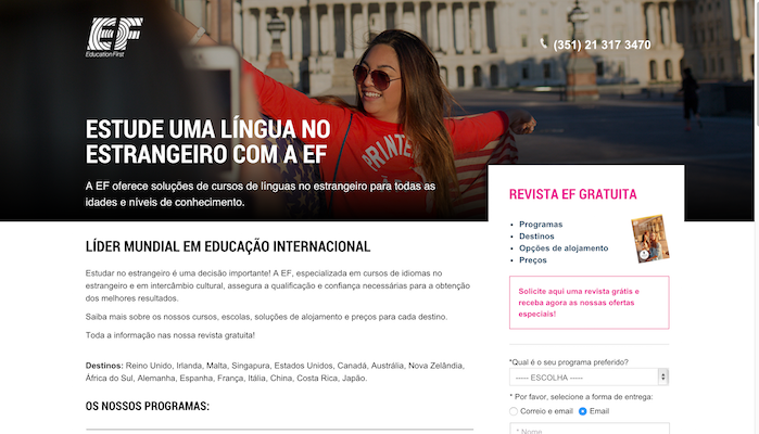 landing page aprender línguas