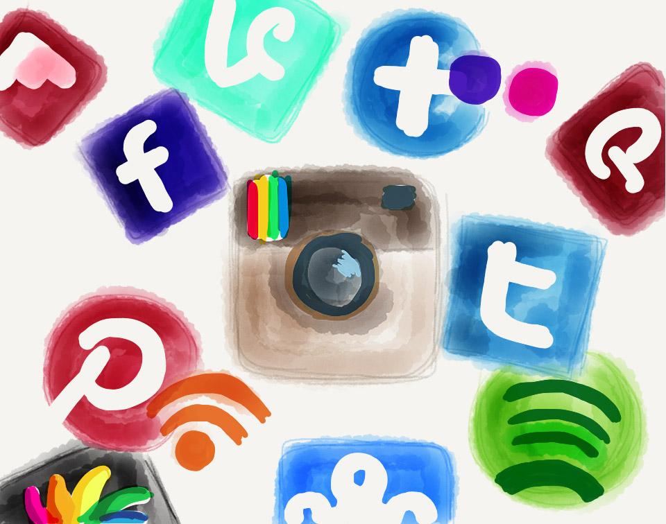 ícones de várias aplicações móveis