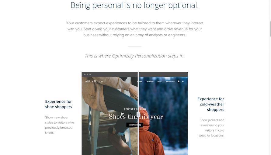 exemplo de personalização online optimizely