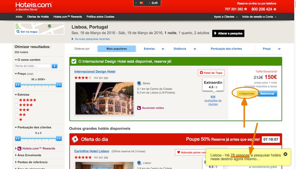 o site hoteis.com a usar escassez