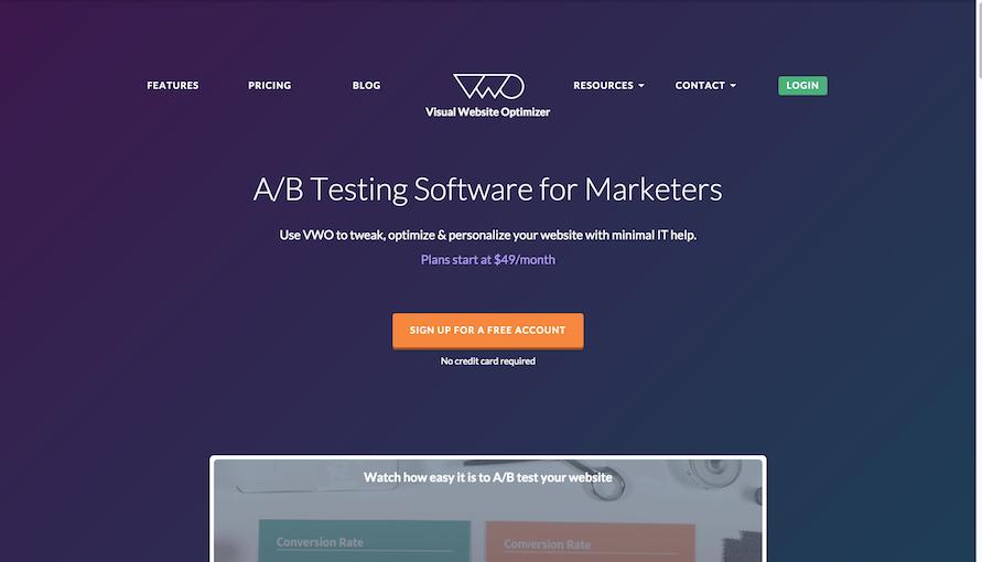 visual website optimizer homepage