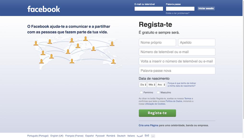 página inicial Facebook