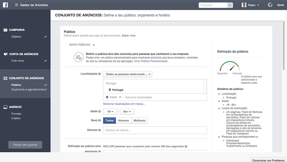 Escolha do público para anúncios Facebook