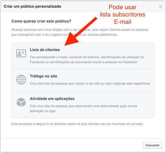 opções público personalizado anúncio Facebook