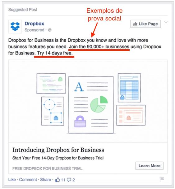 prova social anúncio do Facebook